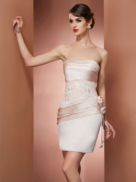 Column Strapless Hand Made Flower Satin Mini Gown