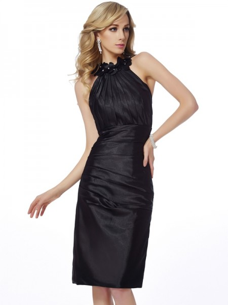 Column Bateau Applique Knee Length Elastic Woven Satin Gown