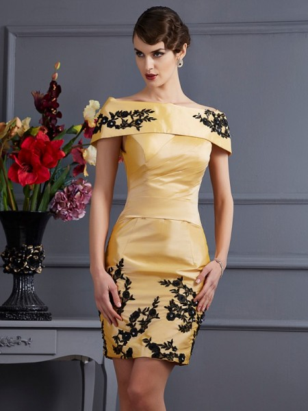 A Line Princess Strapless Applique Taffeta Mini Women Dress