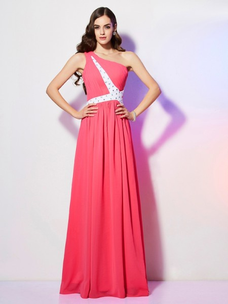 A Line One Shoulder Beading Floor Length Chiffon Prom Dresses