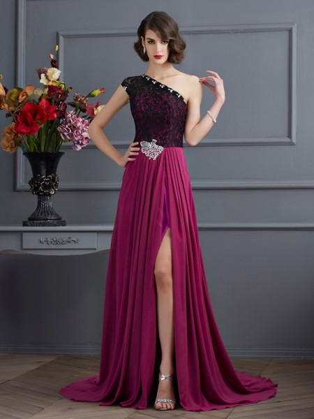 A Line One Shoulder Sweep Brush Train Chiffon Prom Dresses