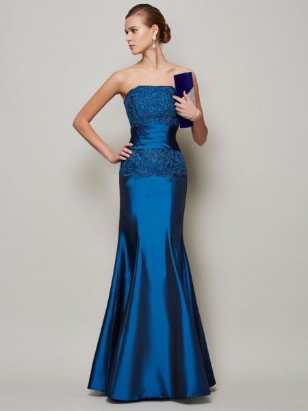 Mermaid Strapless Beading Applique Floor Length Taffeta Dress
