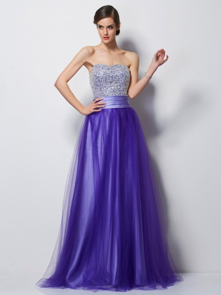 A Line Sweetheart Beading Satin Floor Length Evening Wear