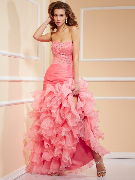 Mermaid Sweetheart Beading Asymmetrical Organza Evening Wear