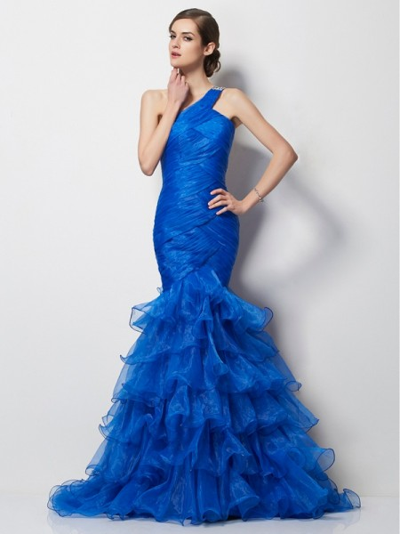 Mermaid One Shoulder Pleats Sweep Brush Train Tulle Evening Wear