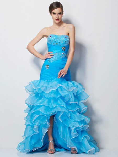 Mermaid Sweetheart Beading Tulle Asymmetrical Evening Wear