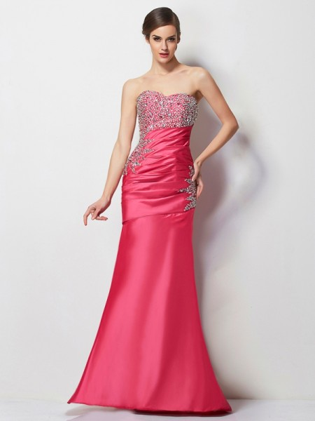 Mermaid Sweetheart Pleats Beading Floor Length Taffeta Evening Wear