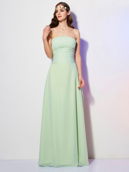 A Line Princess Strapless Pleats Floor Length Chiffon Gown