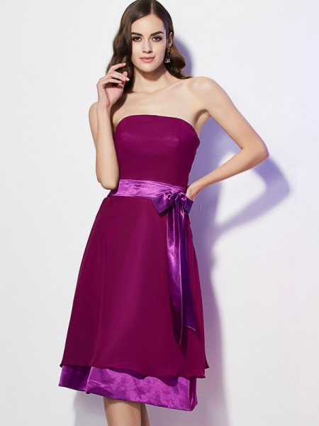 A Line Princess Strapless bowknot Knee Length Chiffon Bridesmaid Gown