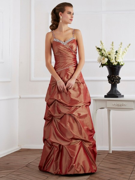 Column Beading Spaghetti Straps Taffeta Floor Length Evening Wear