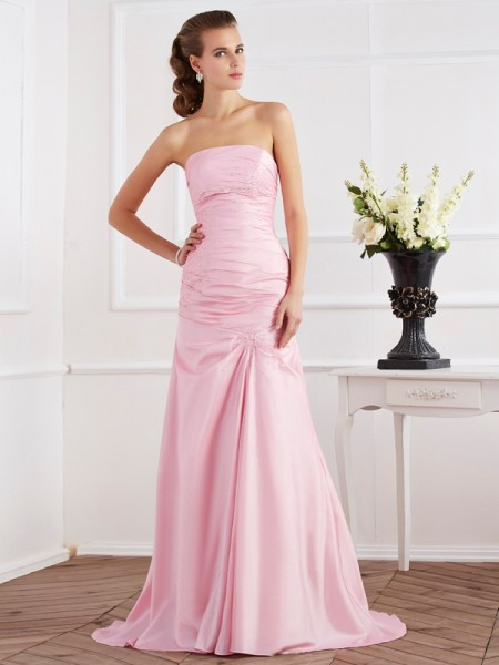 Mermaid Strapless Beading Taffeta Sweep Brush Train Dresses