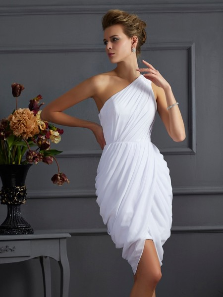Column One Shoulder Pleats Chiffon Mini Gown