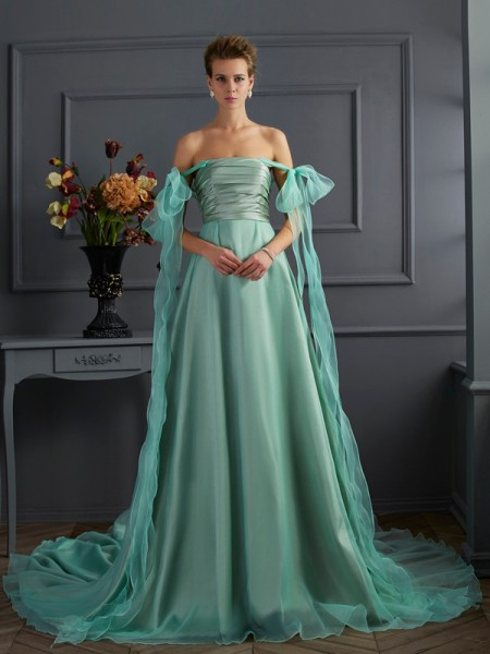A Line Princess off the shoulder chapel train Taffeta Gown