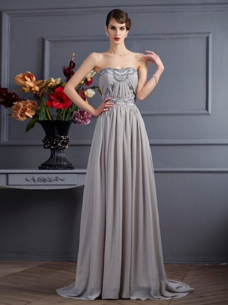A Line Sweetheart Pleats Sweep Brush Train Chiffon Beading Evening Wear