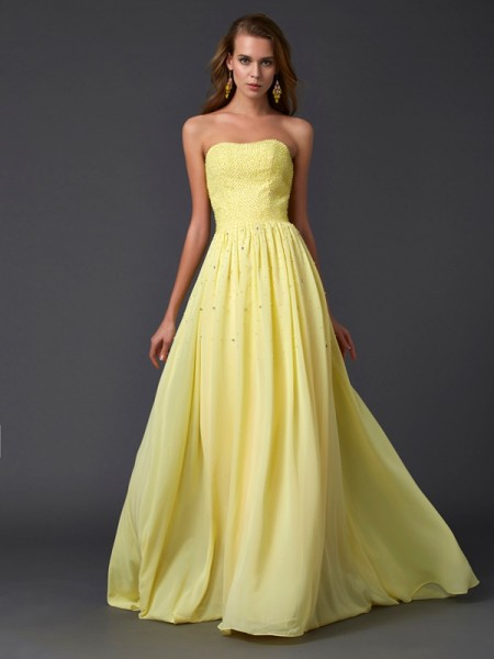 A Line Strapless Beading Pleats Chiffon Sweep Brush Train Evening Wear