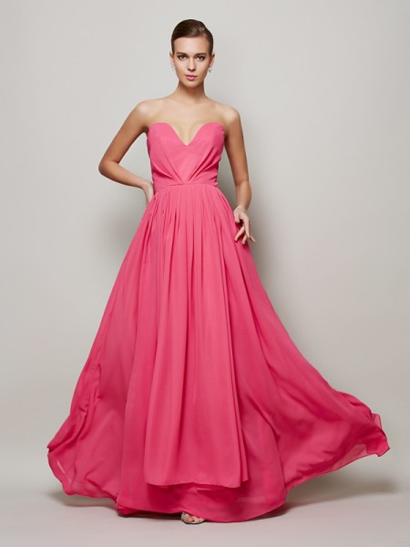 A Line Princess Sweetheart Pleats Floor Length Chiffon Dresses