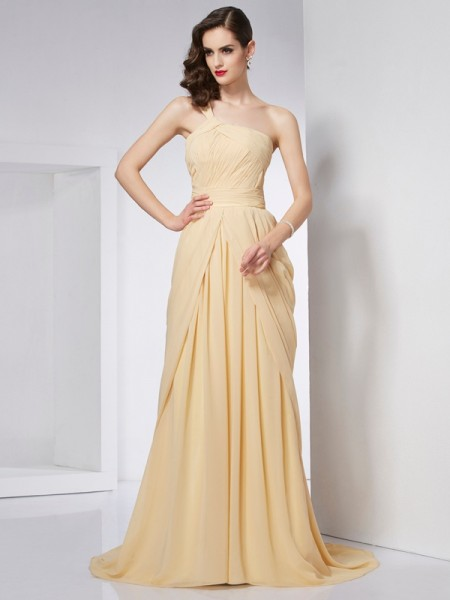 A Line One Shoulder Pleats Chiffon chapel train Evening Wear