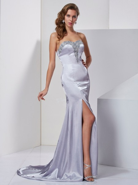 A Line Princess Sweep Brush Train Beading Sweetheart Elastic Woven Satin Evening Gown