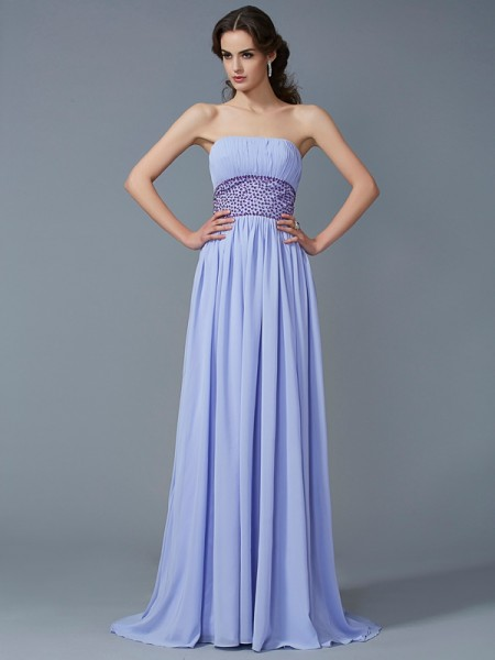 A Line Strapless Beading Sweep Brush Train Chiffon Prom Dresses