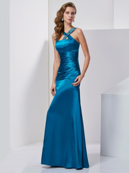 Column silk like Satin Straps Beading Floor Length Evening Wear