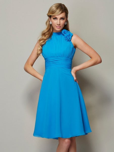 A Line Princess High Neck Pleats Knee Length Chiffon Bridesmaid Gown
