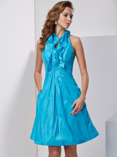 A Line Princess Halter Ruffles Knee Length Taffeta Women Dresses
