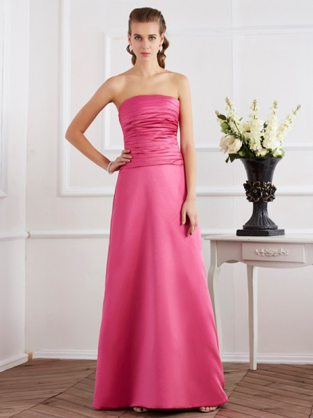 Column Pleats Strapless Satin Floor Length Dresses