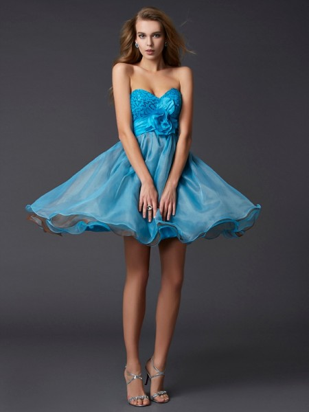 A Line Princess Sweetheart paillette Mini Taffeta Gown