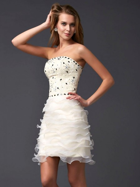 Column Strapless Beading Tulle Mini Gown