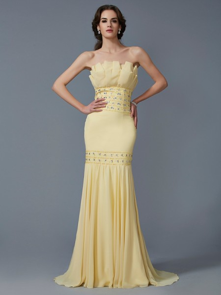 Mermaid Strapless Beading Sweep Brush Train Chiffon Prom Dresses