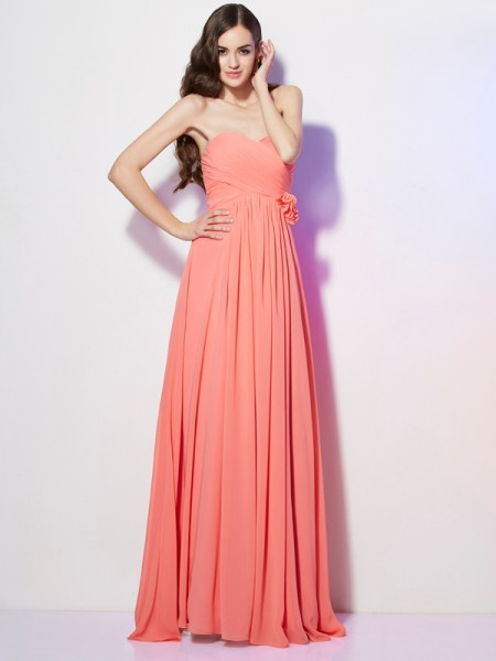 A Line Princess Sweetheart Hand Made Flower Floor Length Chiffon Prom Dress