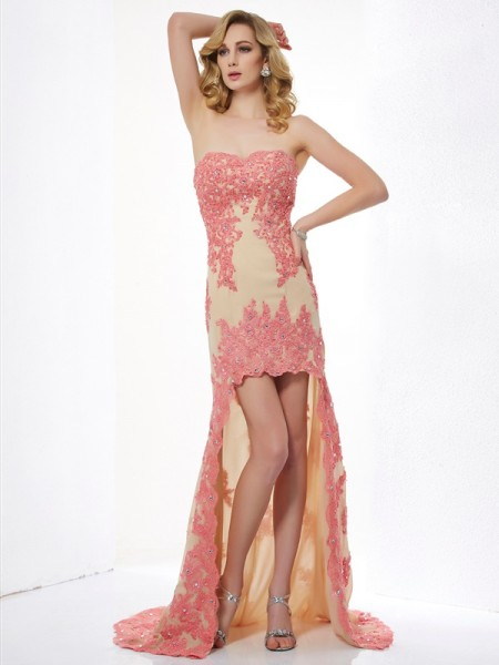 A Line Sweetheart Applique lace Asymmetrical Dress