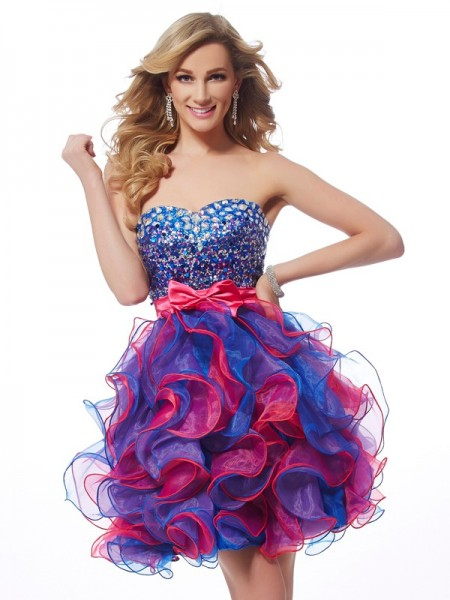 A Line Princess Sweetheart Mini Organza sequin Gown