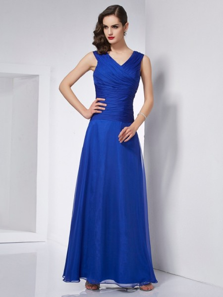 A Line V-Neck Pleats ankle length Chiffon Prom Dresses