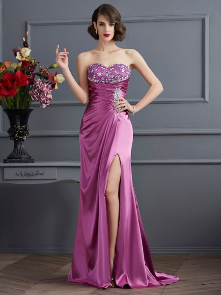 Sweetheart Column Beading Sweep Brush Train Elastic Woven Satin Evening Gown