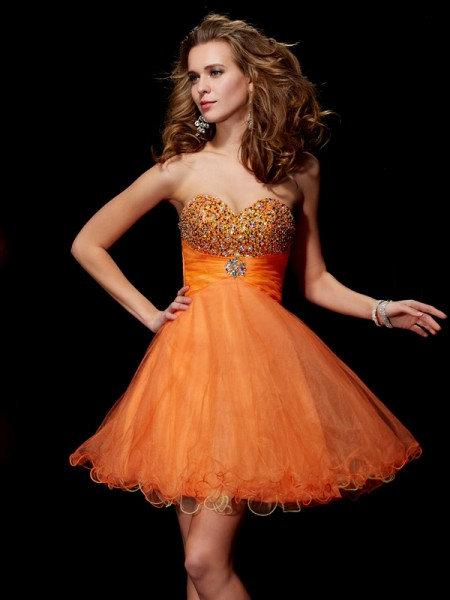 A Line Princess Strapless Beading Sweetheart Organza Satin Mini Gown