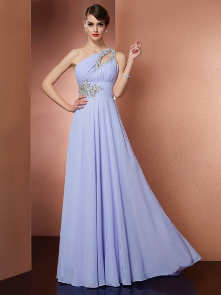 A Line One Shoulder Applique Beading Sweep Brush Train Chiffon Prom Dresses