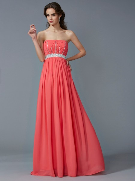 A Line Strapless Beading Chiffon Floor Length Evening Wear