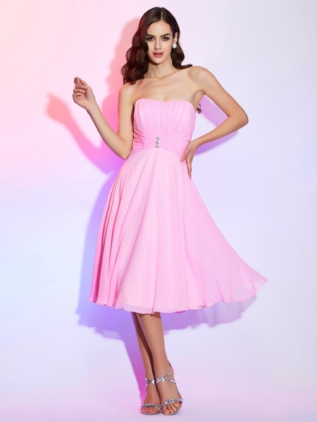 A Line Princess Strapless Chiffon Pleats Bridesmaid Gown