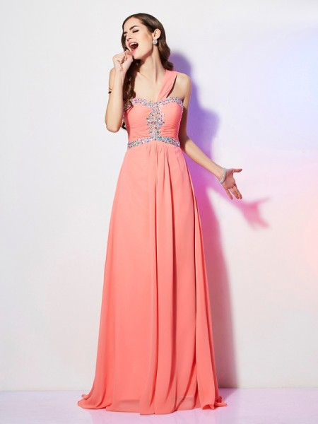 A Line One Shoulder Beading Sweep Brush Train Chiffon Prom Dresses