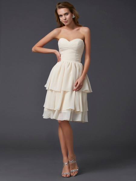 Sweetheart Column Chiffon Knee Length Women Dress