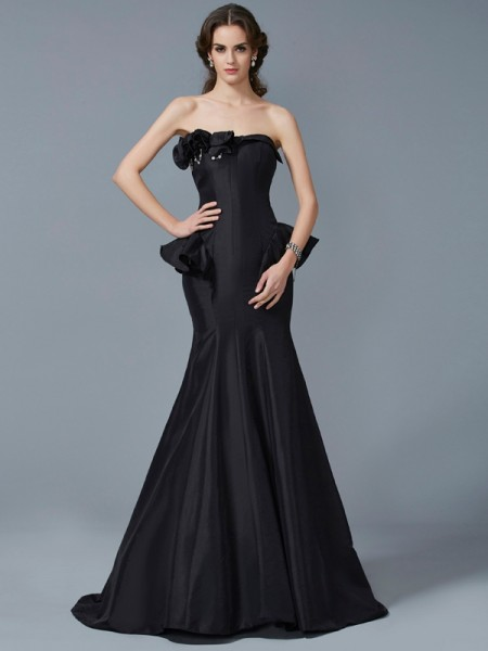 Mermaid Strapless Ruffles Sweep Brush Train Taffeta Evening Wear