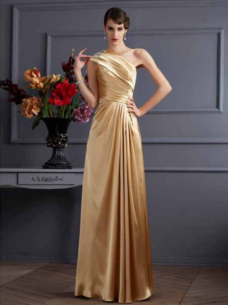 A Line One Shoulder Beading Elastic Woven Satin Floor Length Evening Wear