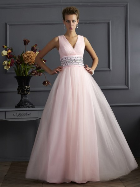 Ball Gown V-Neck Beading Floor Length Net Evening Wear