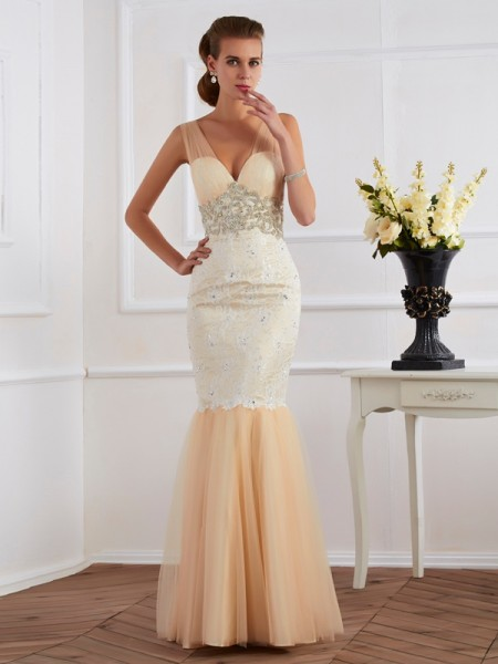 Mermaid V-Neck Beading Floor Length Net lace Evening Wear