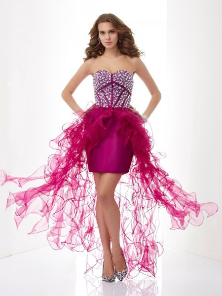 Sweetheart Column Beading Elastic Woven Mini Satin Gown