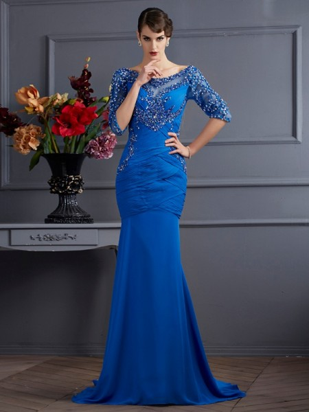 Mermaid V-Neck Sleeves Sweep Brush Train Chiffon Prom Dresses