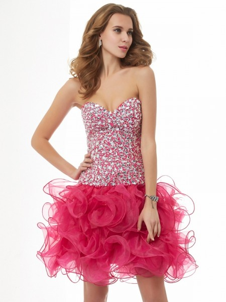 Sweetheart Column Organza Beading Mini Gown