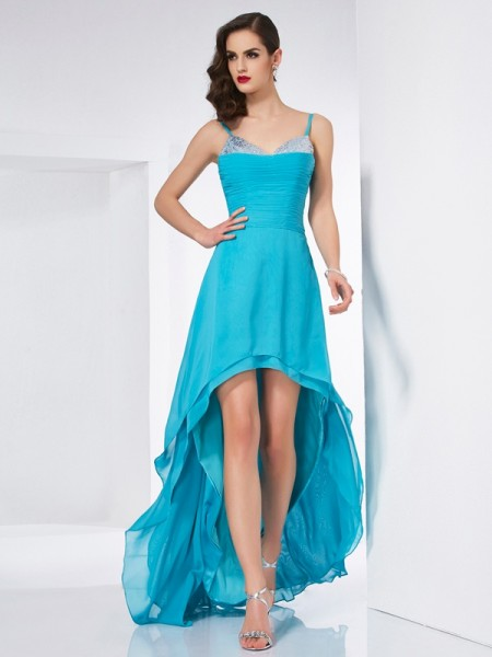 A Line Spaghetti Straps Chiffon Asymmetrical Evening Wear
