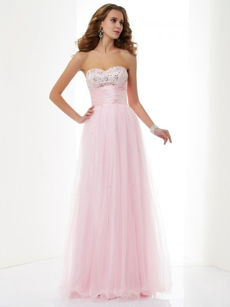 A Line Sweetheart Beading Elastic Woven Satin Floor Length Evening Wear